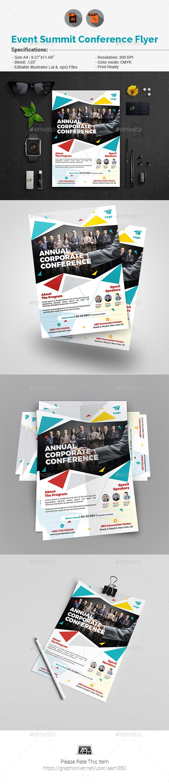 Event Summit Conference Flyer  Ai Illustrator Flyer Template And