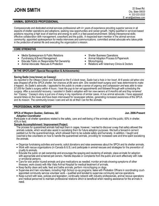 Click Here To Download This Animal Services Professional Resume