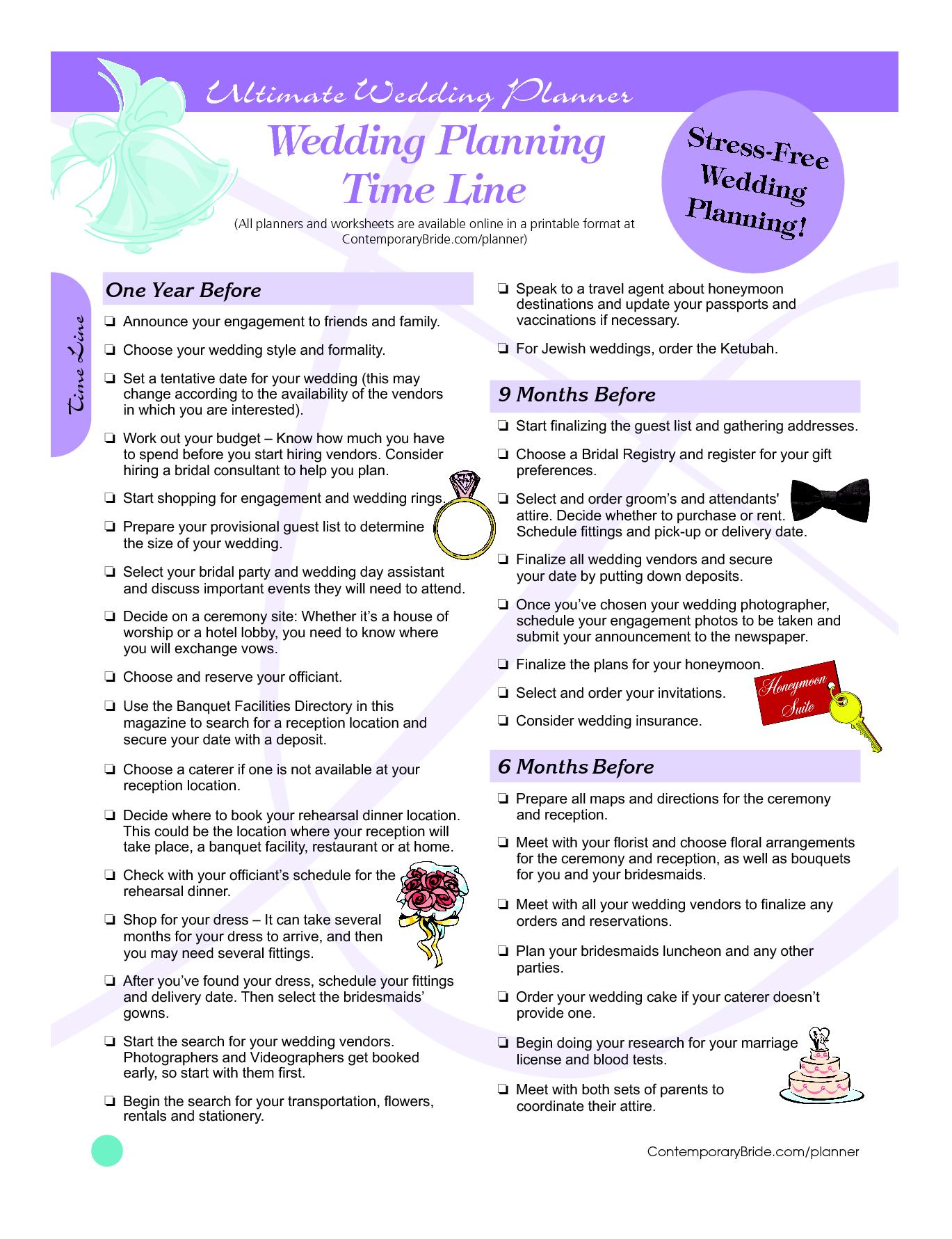 Free Printable Wedding Planning Timeline