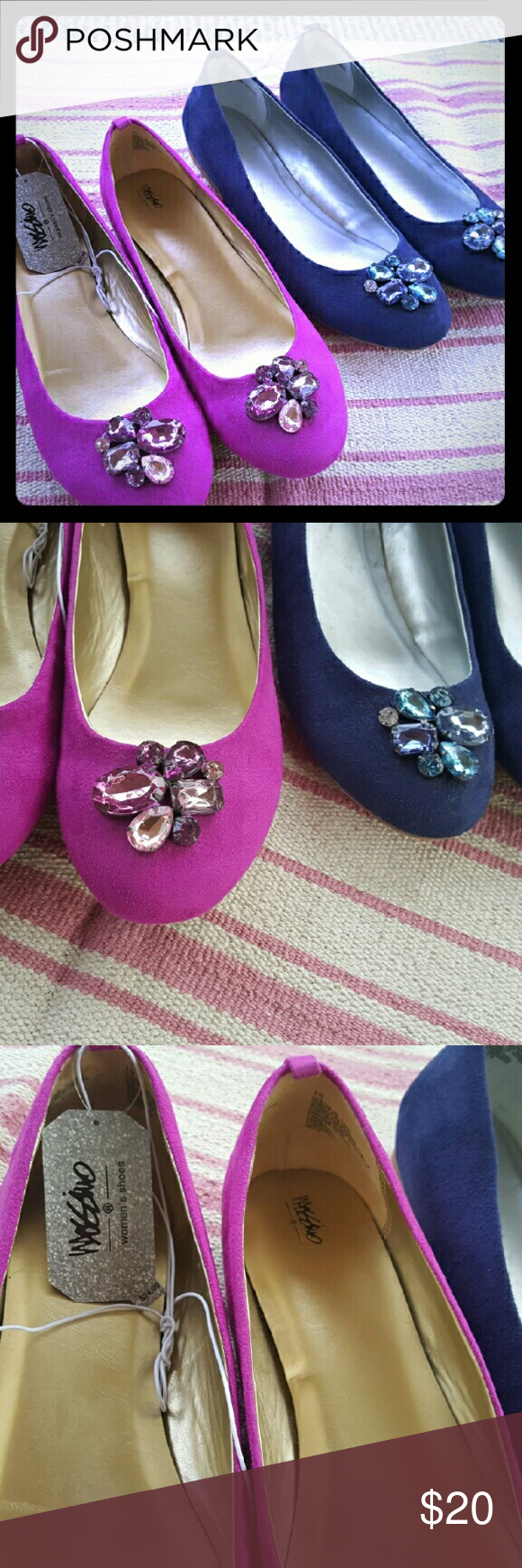 Mossimo jeweled ballet flats. Size 10. NWT. Lot of two pairs of jeweled ballet flats from Mossimo. Both pairs are size 10. One is fuchsia and one is navy blue. They are a faux suede. Both pairs are brand new (pink pair still has tags). I can't wear these due to an injury. It's too bad because they are beautiful! Comes from a pet and smoke free home. Mossimo Supply Co Shoes Flats & Loafers