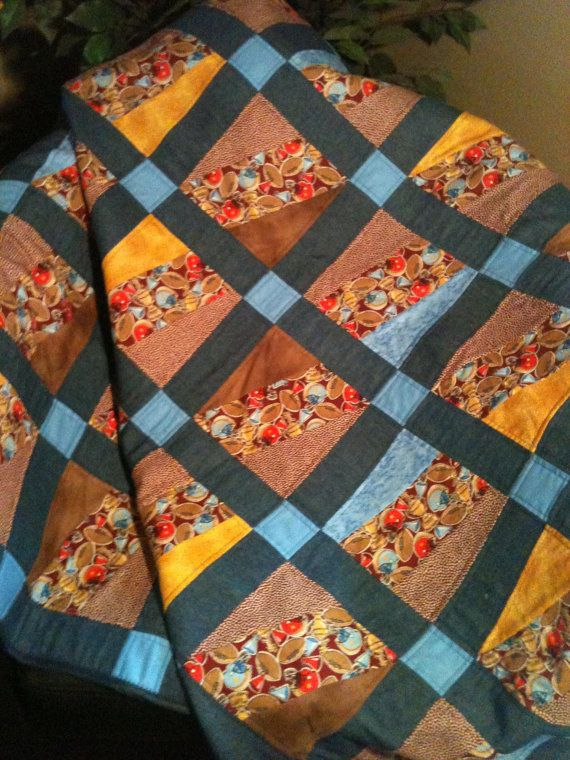 Football and Denim in a 43 X 50 Quilt by WrappingYouInWarmth, $108.00