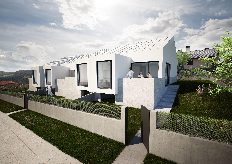 Exterior jardin moderno casas via planreforma for Iluminacion exterior fachadas