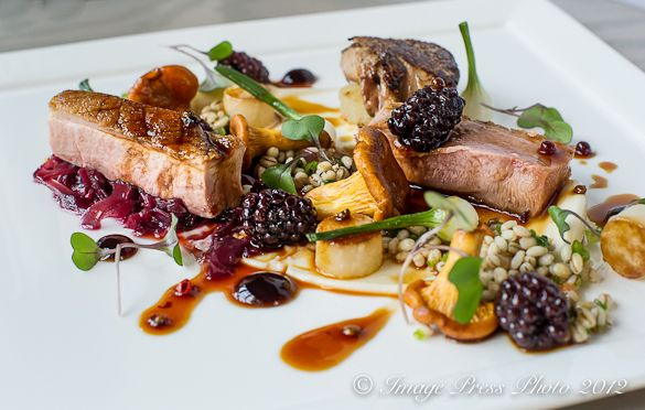 Seared Duck with Foie Gras and Pickled Blackberry Sauce from Chef Colin Bedford - Fearrington House Inn - Pittsboro, NC