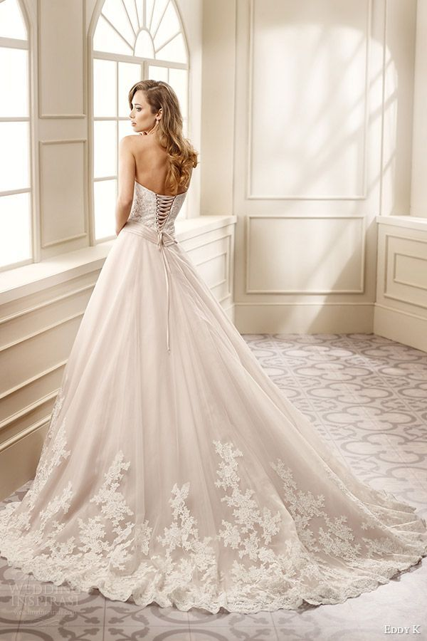 fea554c4d eddy k bridal 2016 strapless sweetheart lace bodice a line wedding dress  (ek1061) bv corset back medium train romantic classic