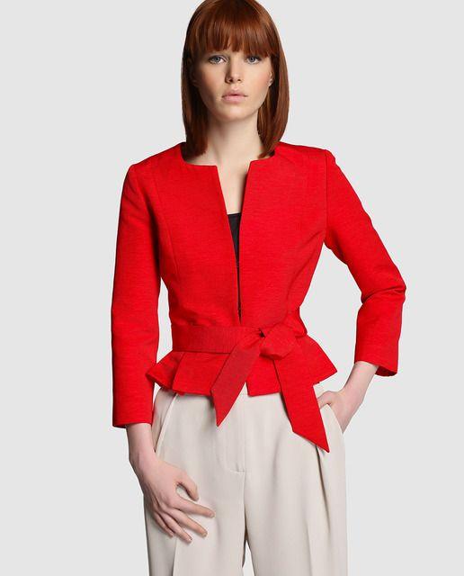 7819b6c90 Chaqueta de mujer Tintoretto roja con cinturón | CHAQUETAS C/FALDA O ...