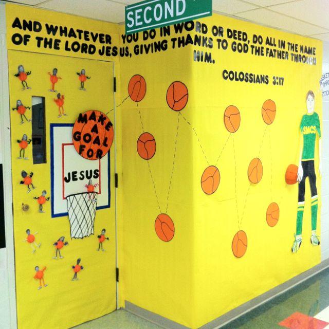 Classroom Theme Basket Ideas ~ Basketball themed door bulletin board décor