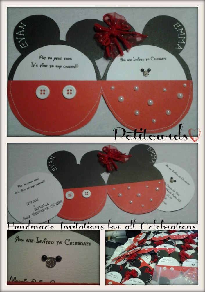 Mickey & Minnie Mouse 1st birthday party invitations.-petitcards ...