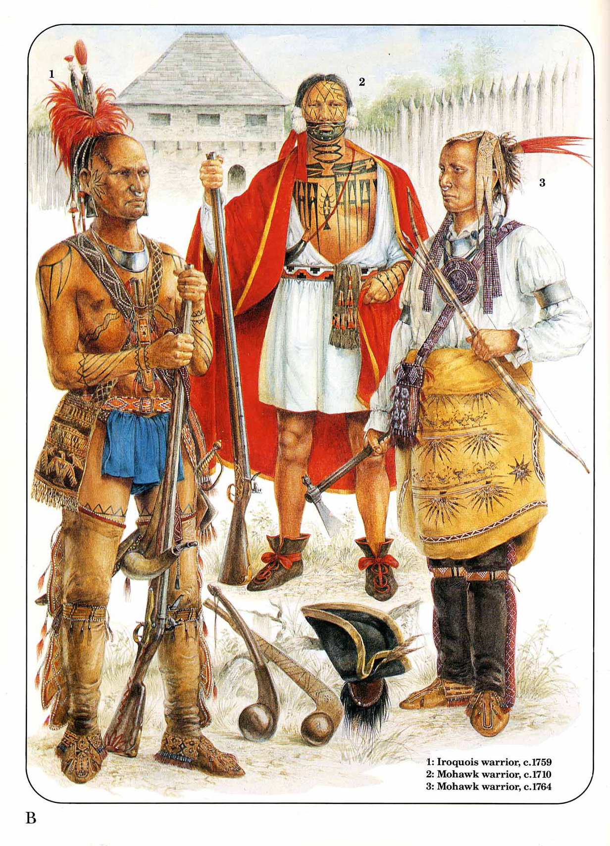 Iroquois And Mowhawk Indian Warriors Early Colonization
