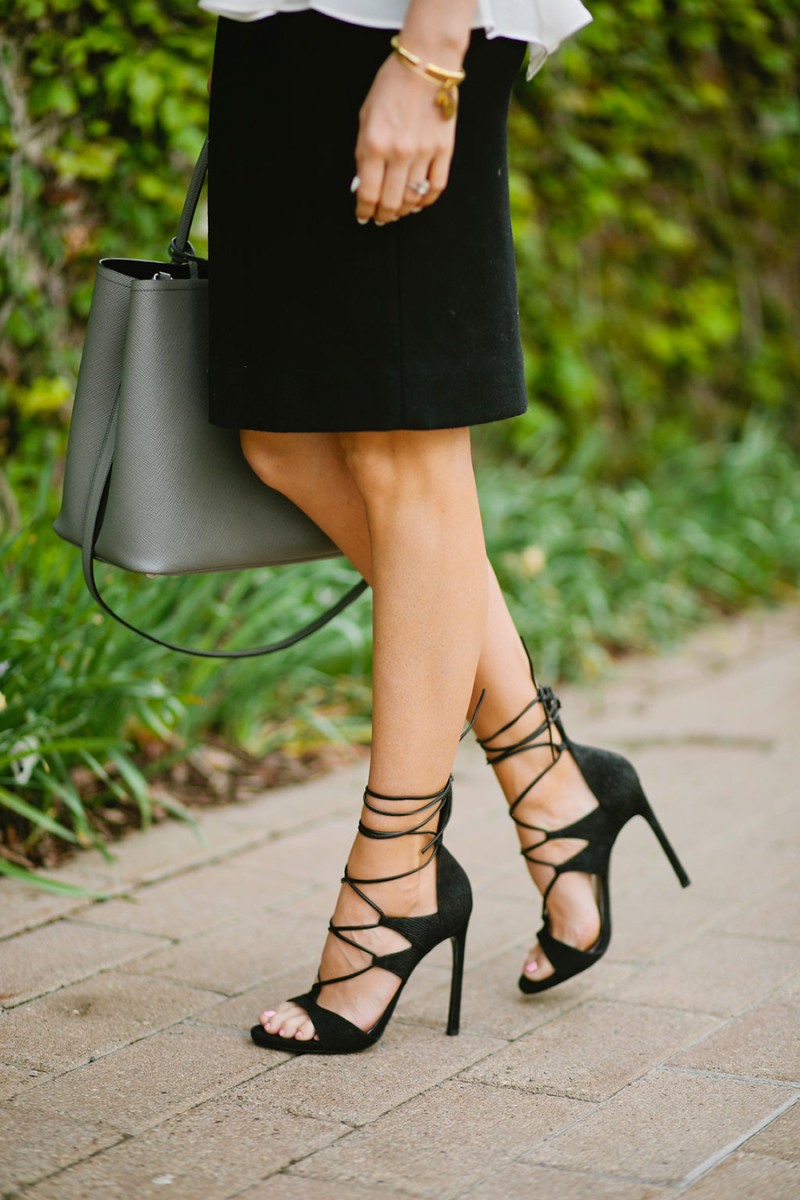 Lace up Stuart Weitzman heels — great with skirts, dresses, and even your favorite pair of jeans.
