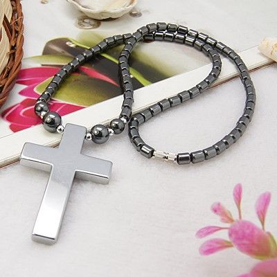 Hematite Necklace, with Brass Screw Clasp and Cross Pendant
