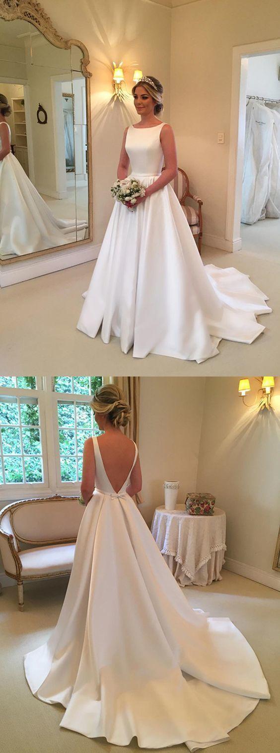 Aline bateau backless sweep train white satin wedding dress with