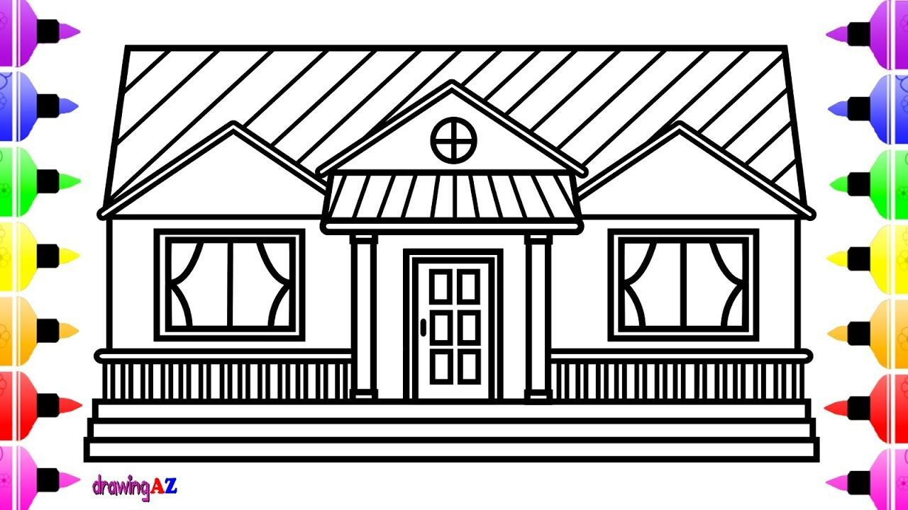 How To Draw A House For Kids House Drawing And Colour For Kids