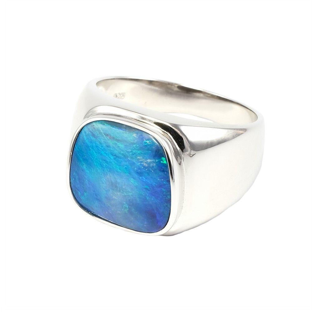 Fiji Waters Sterling Silver Men S Australian Opal Ring With Images Australian Opal Ring Sterling Silver Mens Silver Opal Ring