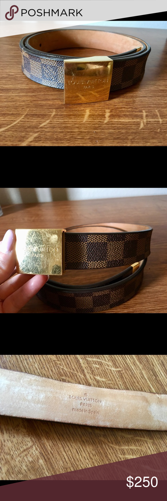 f18eb257fba6 LOUIS VUITTON Damier Ebene Belt Gold Buckle 85 34 Good condition Authentic Louis  Vuitton Damier