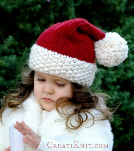 Free Santa Hat Knitting Pattern Knitting Patterns Pinterest
