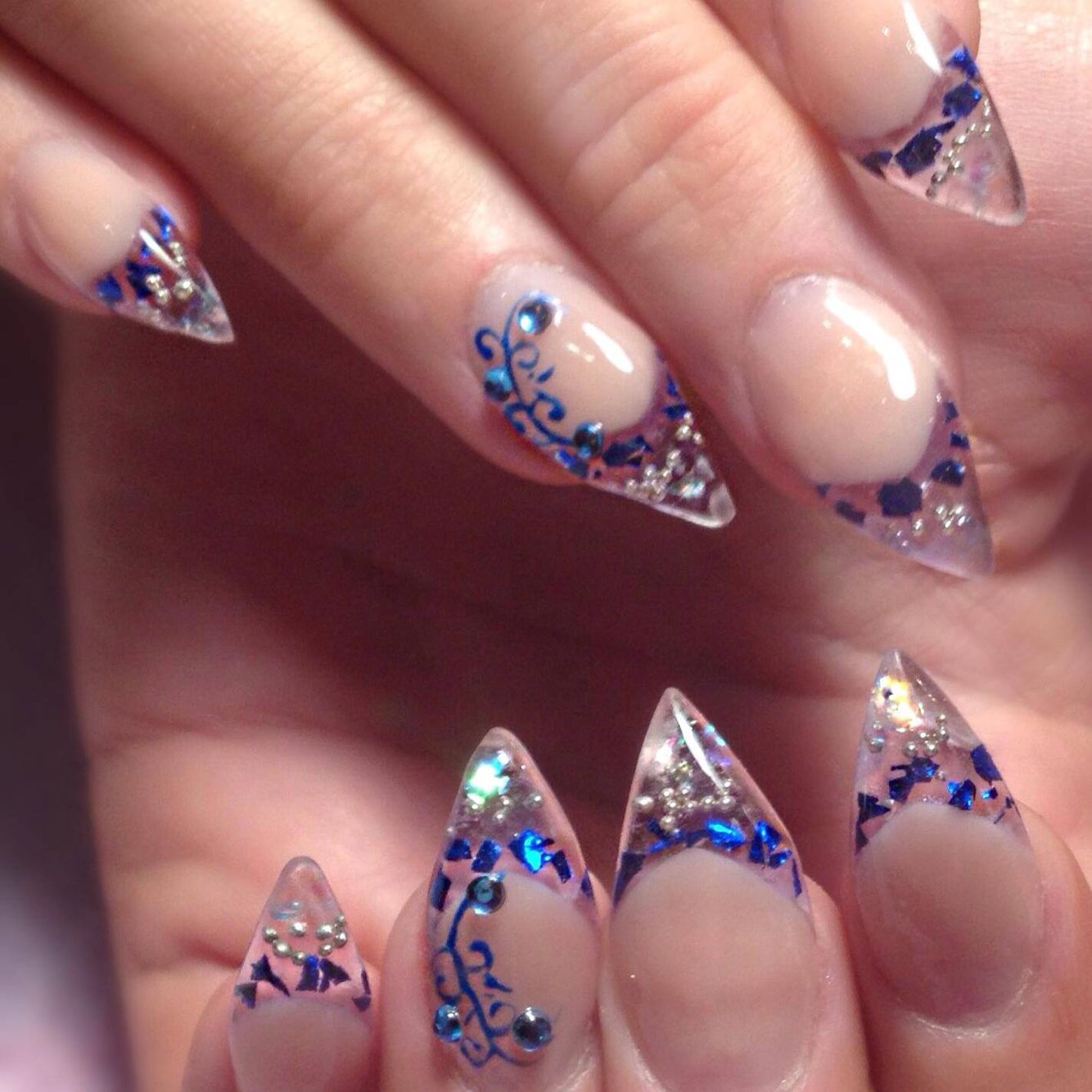 Acrylic nails glass effect, love the blue on this nail ...