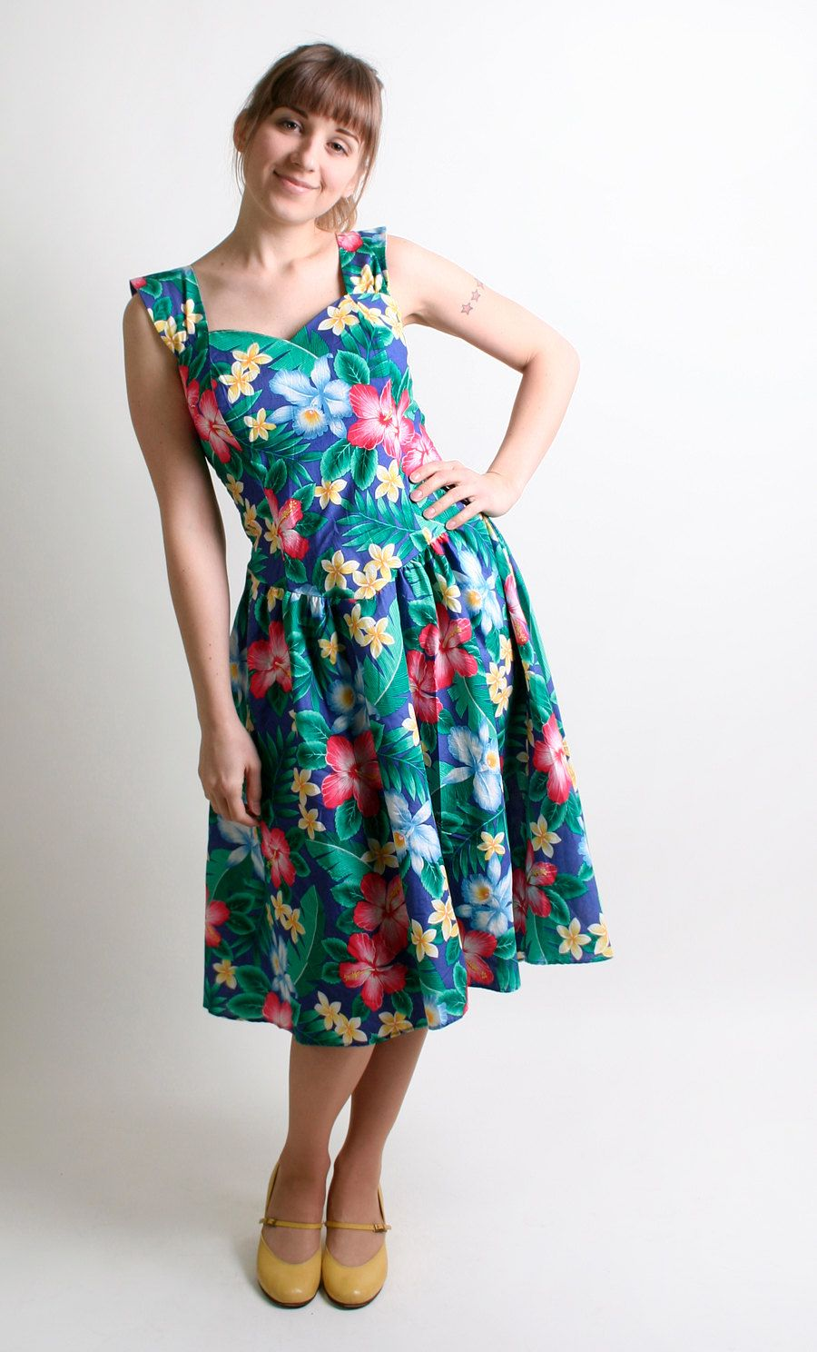 Vintage Floral Dress - Hawaiian Summer Vacation Tropical Botanical ...