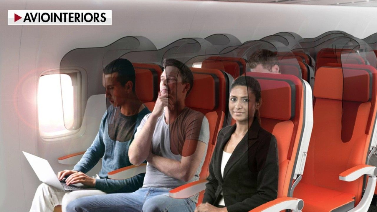 Visualization shows droplets from one cough on an airplane