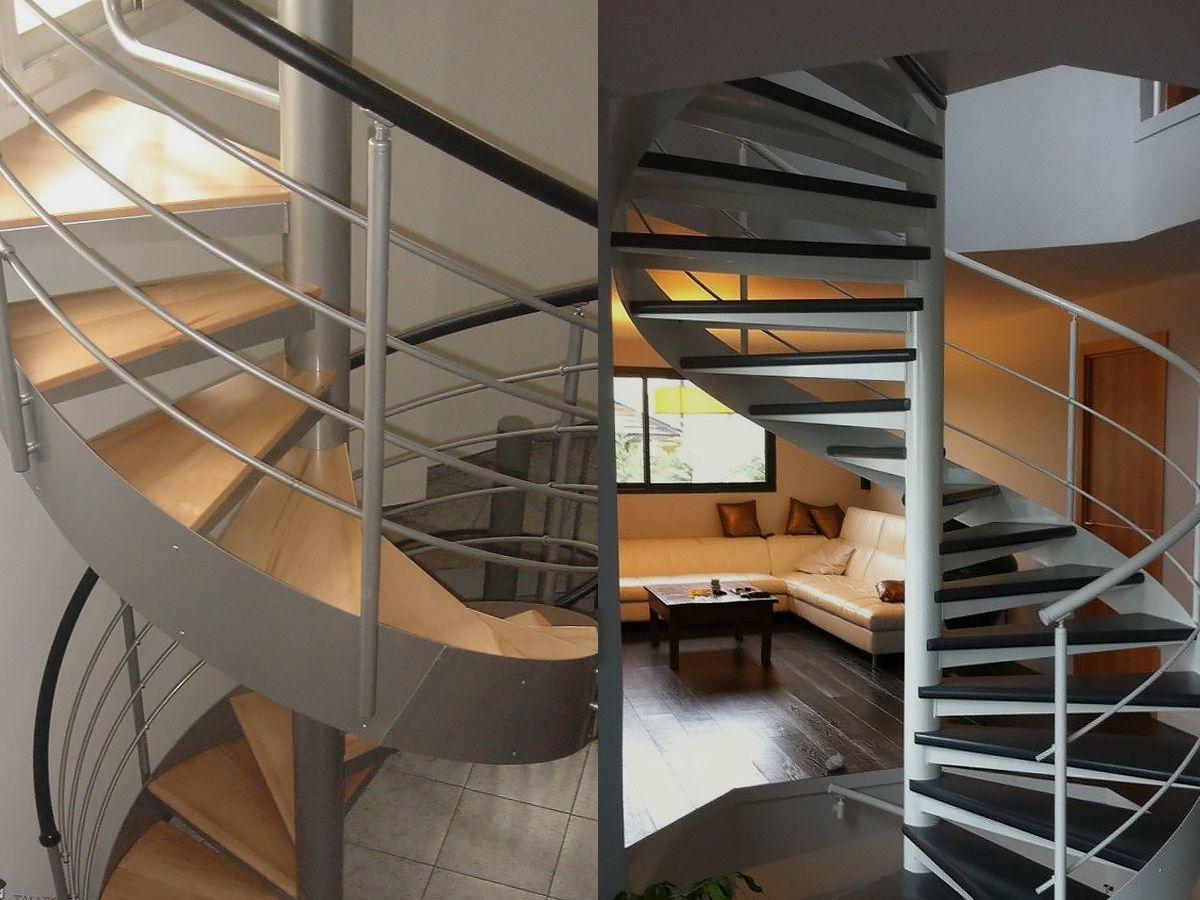 Escalier hélicoïdal, limon latéral, rampe à lisses en ...