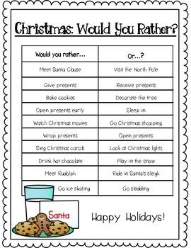Christmas Would You Rather Freebie Fun Christmas Activities Classroom Christmas Activities Christmas Activities For Kids