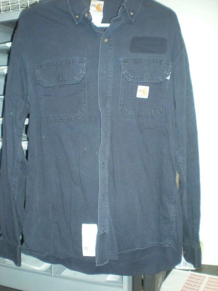 30890c4e6 eBay  Sponsored 2 Carhartt Flame Resistant FR Work Shirts Navy Blue from  Cintas MED - 2CSDAM.01