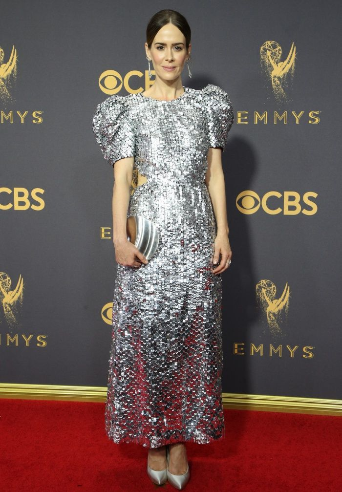 Sarah Paulson Sparkles at Emmys in Silver Curvia Pumps