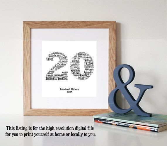 20th Wedding Anniversary Ideas For Him: Personalised 20th ANNIVERSARY GIFT