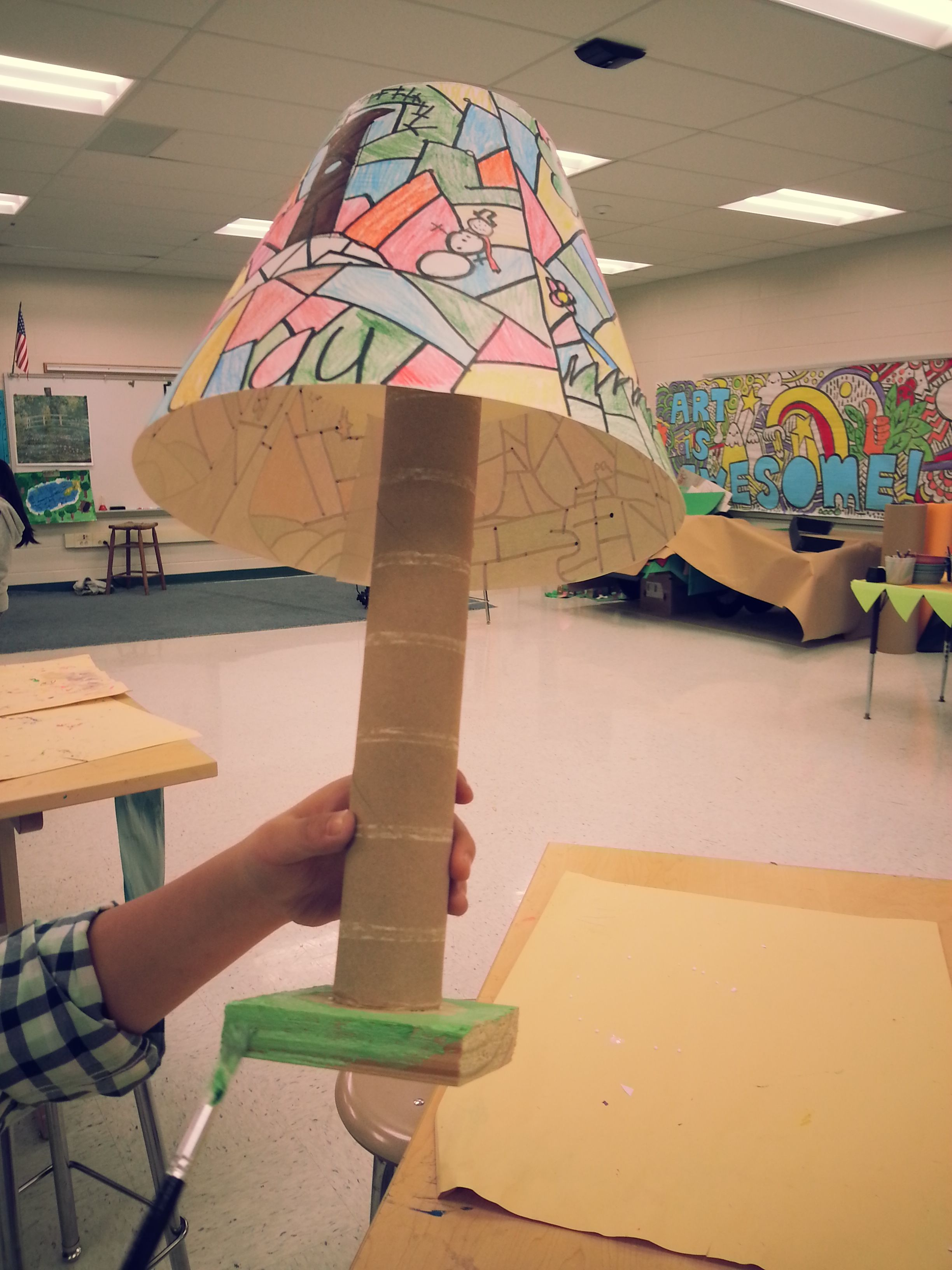 4th Grade Art Tiffany Lamp Could Be Made Into A Real