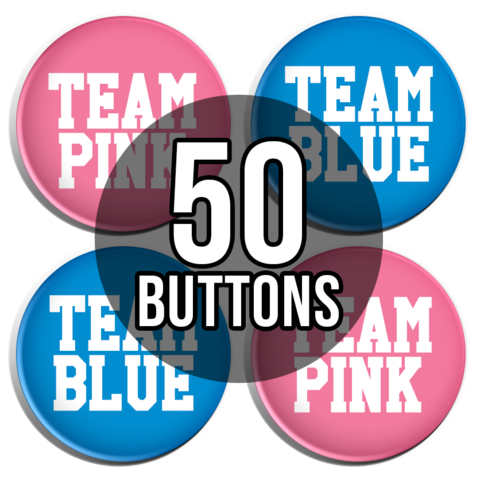 Team Pink & Team Blue Sporty Gender Reveal Baby Shower Button Badges - 50 Pack