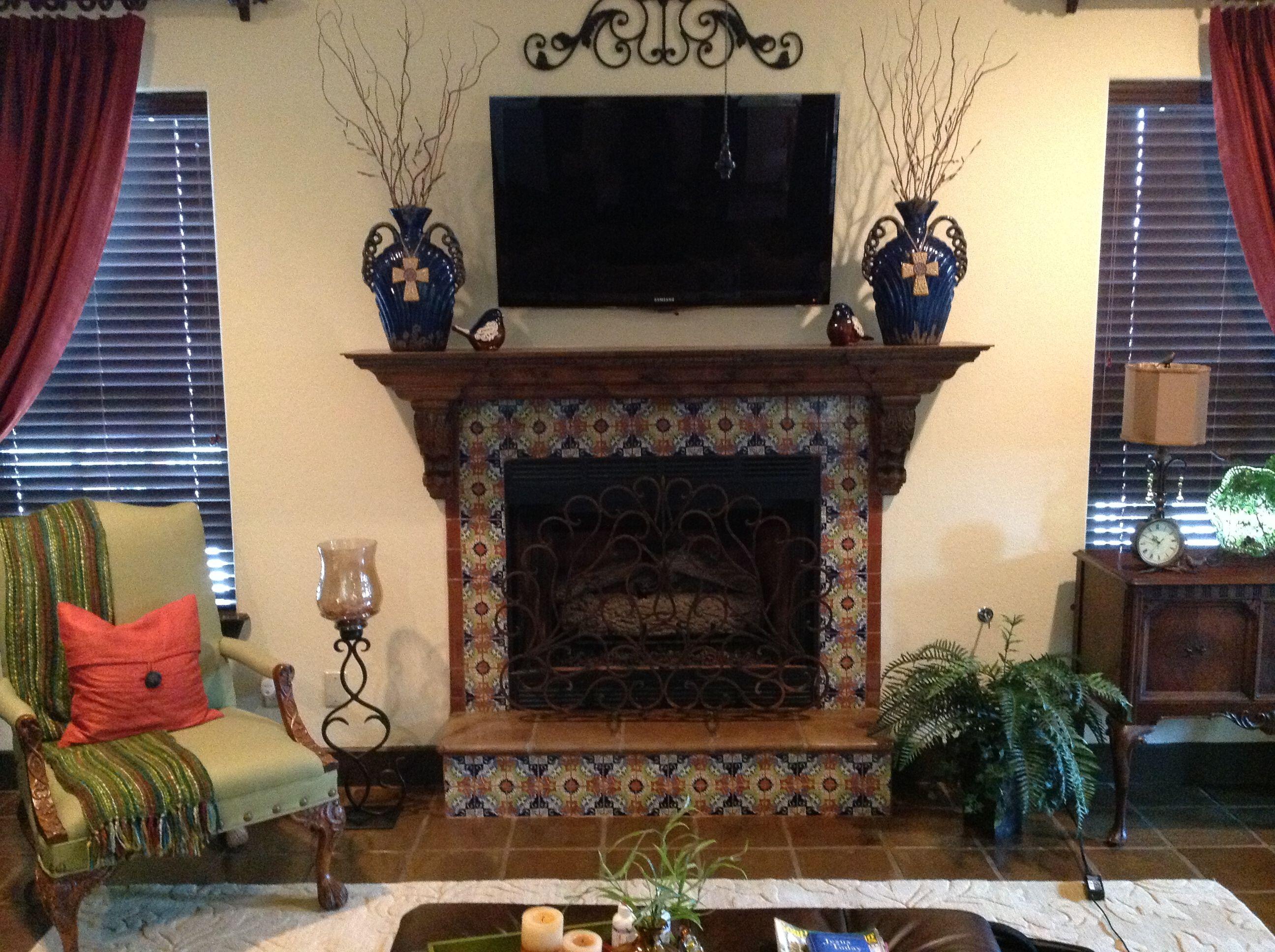 Talavera Surround On Fireplace Tile Ideas Pinterest Tiled Fireplace Tile Ideas And