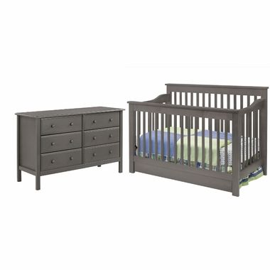 Davinci 2 Piece Nursery Set Piedmont 4 In 1 Convertible Crib And 6 Drawer Double Dresser In Slate Free Shipping Nursery Set Convertible Crib Cribs