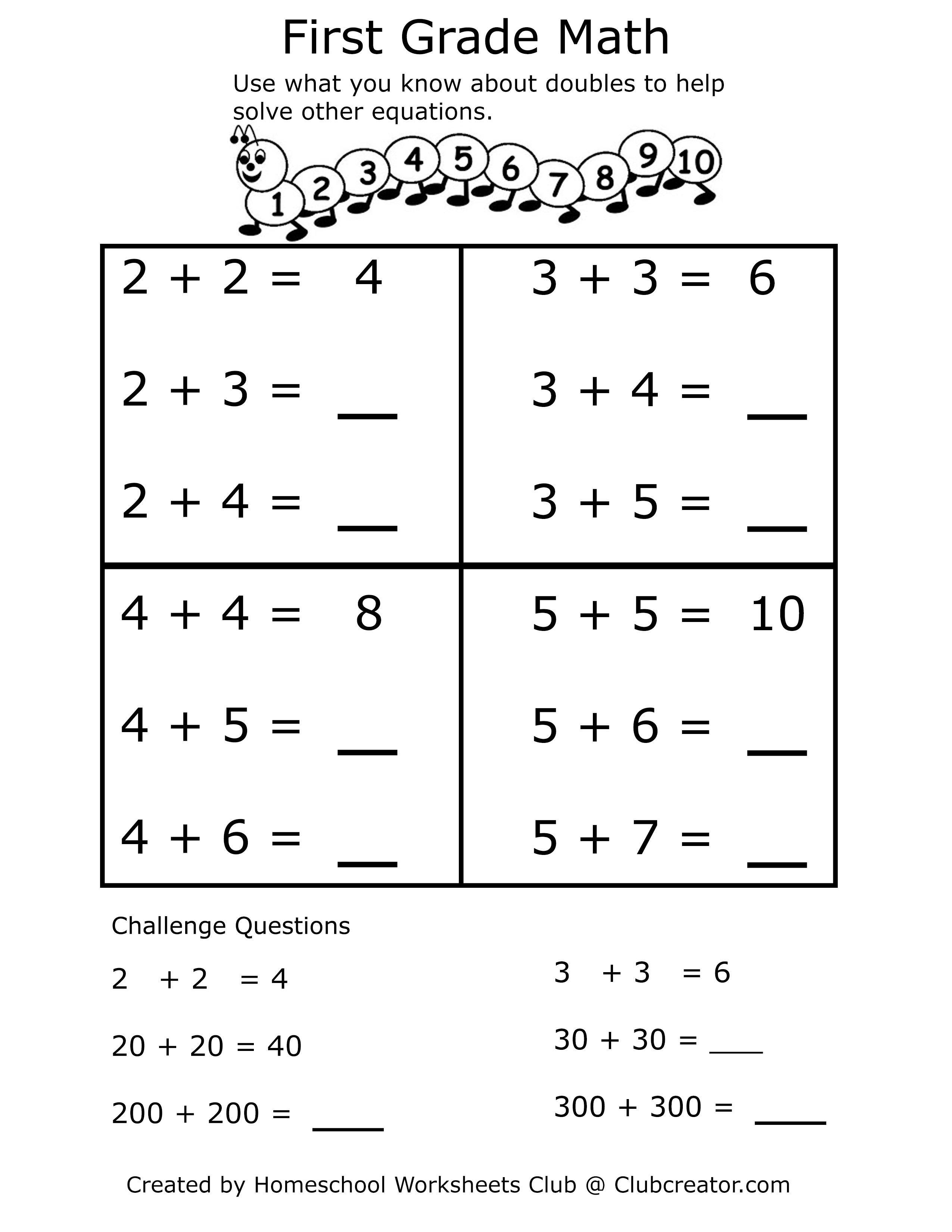 First Grade Addition Math Worksheet First Grade Math Worksheets Homeschool Worksheets First Grade Math [ 3300 x 2550 Pixel ]