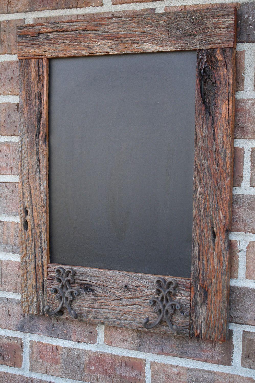 Oak Reclaimed Barn Wood Chalkboard with 2 Double Hooks Perfect for ...