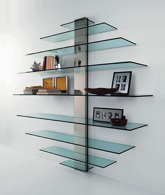 Glass Bookshelf Designs: New Trend Floating Glass Shelves