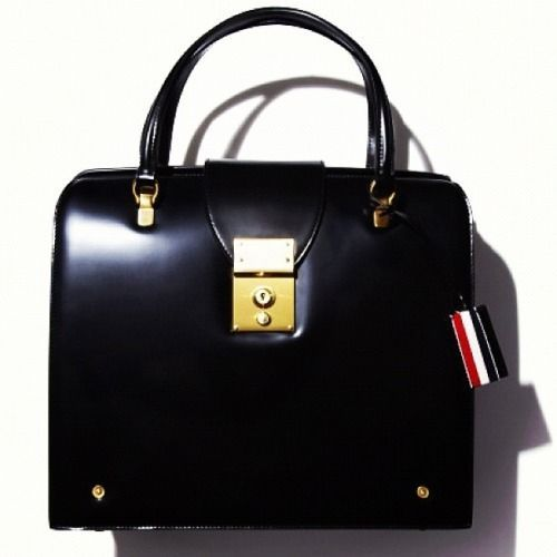 THOM BROWNE Mrs Thom Handbag in Black Leather (save $1,046) #thombrowne #Satchel