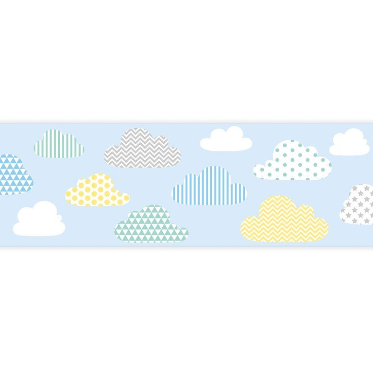 Kinder Bordure Patchwork Wolken Pastellmix Blau Selbstklebend Pastell Patchwork Und Wolken