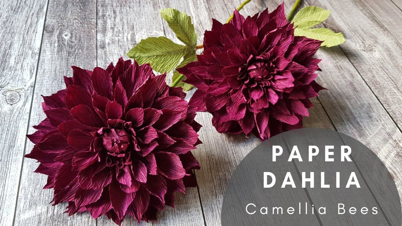 Dahlia Paper Flower Part 2 Diy How To Make Crepe Paper Flowers Youtube Paper Flowers Paper Flower Bouquet Crepe Paper Flowers Tutorial