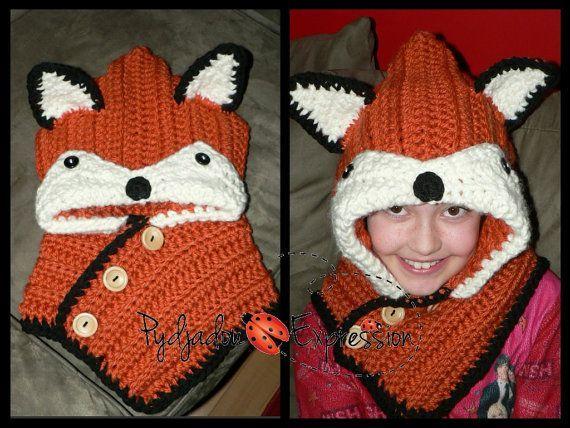 Crochet Fox Scarf Pattern Crochet Hooded Scarf Pattern Crochet