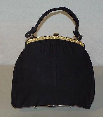 Vintage Rhinestones Black Cloth Evening Handbag by Harry Levin