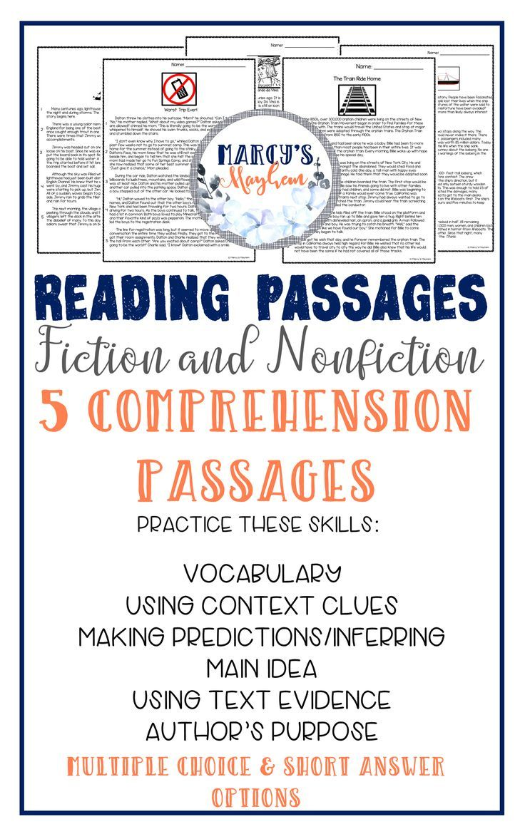 Reading Comprehension Passages With Multiple Choice Fiction Nonfiction Reading Comprehension Passages Reading Comprehension Reading Comprehension Strategies [ 1177 x 736 Pixel ]