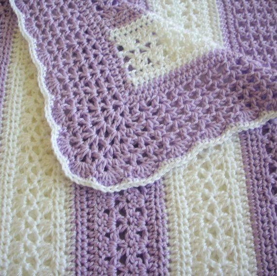 Crochet bebé manta orquídea y blanco raya encaje chica por GoStitch ...