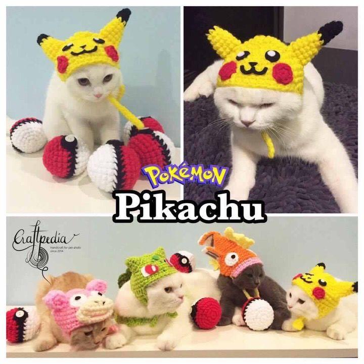 Pikachu Pokemon cat hat #crochet #handmade #handicraft #cat #hat by ...