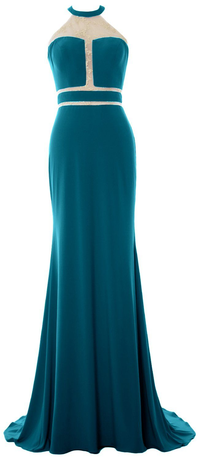 Macloth women mermaid prom gown halter jersey sexy evening formal