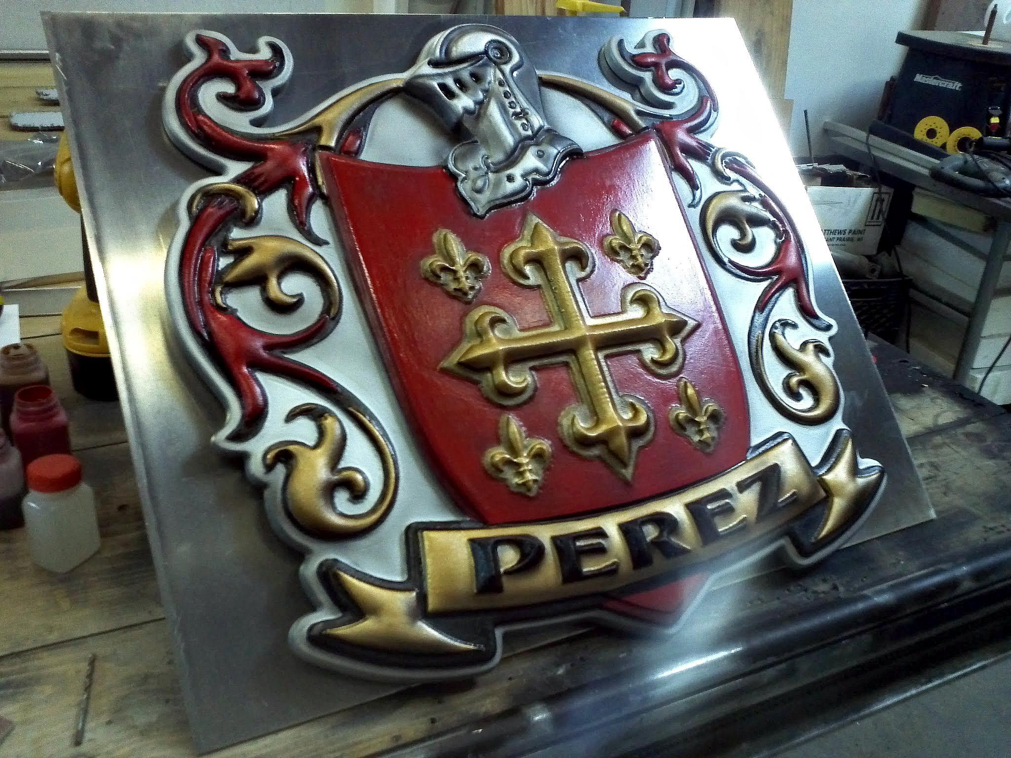 Perez Coat Of Arms Custom Designed 3d Cnc Routed And