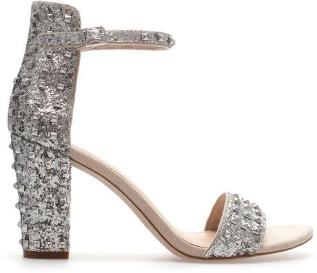 Zara High Heel Sandal with Ankle Strap in Silver - Lyst