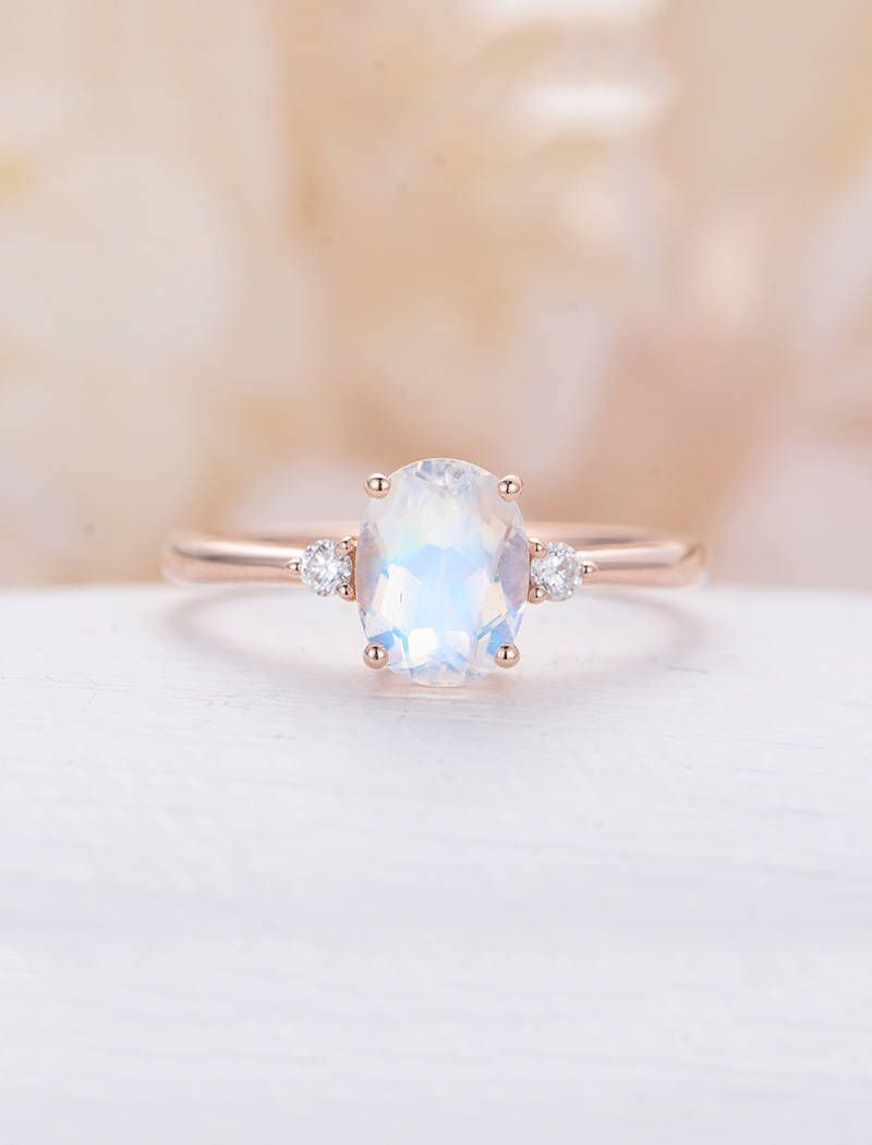 Moonstone engagement ring rose gold oval cut engagement ring three