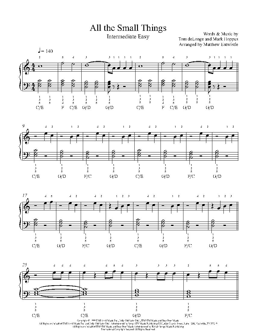 All The Small Things by Blink 15 Piano Sheet Music   Rookie Level ...