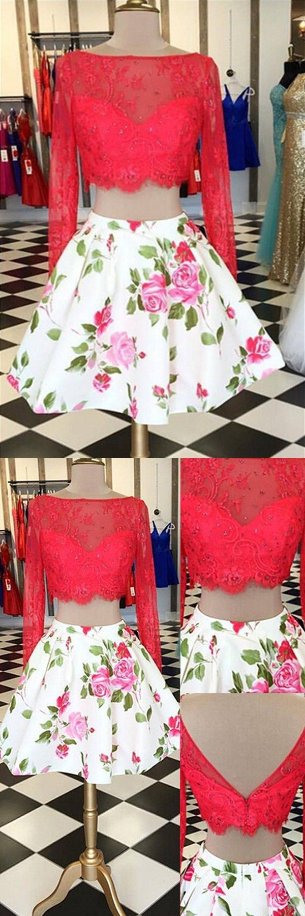 Elegant two pieces long sleeves bateau floral homecoming dress