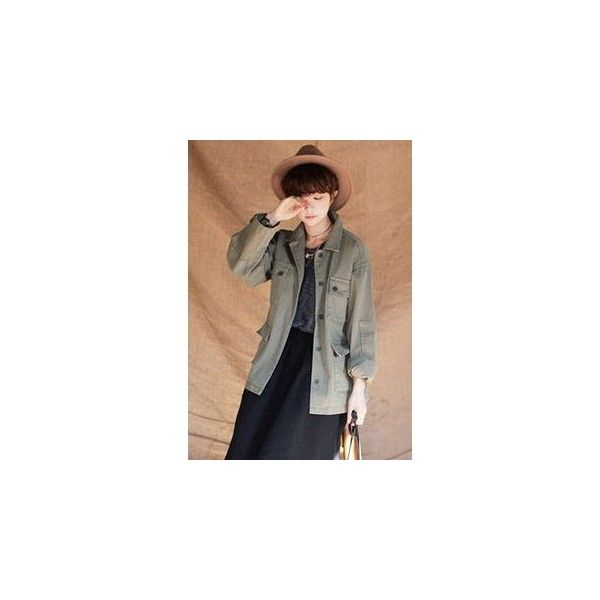 Multi-Pocket Buttoned Safari Jacket ($109) ❤ liked on Polyvore featuring outerwear, jackets, women, cotton safari jacket, safari jacket, khaki jacket, button jacket and khaki safari jacket