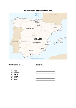Map Of Spain For Classroom.Spain Random Partner Map For Class Pairwork Spanish Classroom
